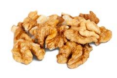 Few Half walnut. Isolated over white background Stock Photo