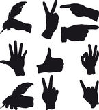 Few hand gestures. In different situations and actions Royalty Free Stock Images