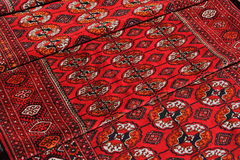 Few handmade carpets. With traditional ornament. Turkmenistan. Ashkhabad market Royalty Free Stock Photos