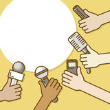 Few hands of journalists with microphones, tape recorder and smartphone. Journalism, live report or hot news, television. And radio casts. Vector illustration Stock Images