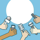 Few hands of journalists with microphones, tape recorder and smartphone. Journalism, live report or hot news, television. And radio casts. Vector illustration Stock Image