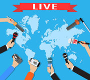 Few hands of journalists with microphones,. Tape recorder and smartphone. journalism, live report, hot news, television and radio casts concept. vector Stock Images