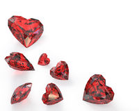 Few heart cut rubies. On white background Stock Photos