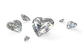 Few heart shaped diamonds Royalty Free Stock Images