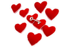 A Few hearts with a Key for opening Stock Image
