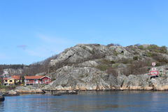 A few holiday homes in the archipelago of Gothenburg, Sweden, Scandinavia, islands, ocean, nature Royalty Free Stock Photo