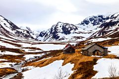The few houses in snowy mountains, Norway Stock Photo