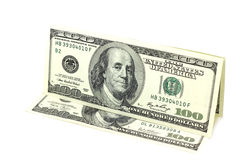 A few hundred dollars in bills. On a white background Stock Images