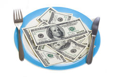 Few hundred dollars on plate Stock Photography