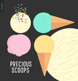 Few ice cream scoops on a dark background. Precious scoops - ice cream scoops on dark background - vector cartoon flat illustration of vanilla, pink fruit, white Royalty Free Stock Photo