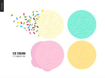 Few ice cream scoops on a white background. A vector cartoon flat illustration of vanilla, pink fruit, white and blue mint ice cream scoops on a white and a Royalty Free Stock Photos