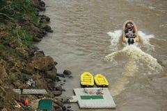 Few inflatable boats near Iguacu waterrfalls Stock Photos