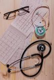 Cardiovascular system health measure instruments. A few instruments for measuring risk factors of cardiovascular diseases on wooden table Stock Photography