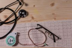 Cardiovascular system health measure instruments. A few instruments for measuring risk factors of cardiovascular diseases on wooden table Stock Image