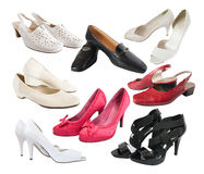 Few  isolated  female shoes Royalty Free Stock Images