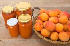 Few jar full of apricot jam Stock Photos