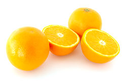 Few juicy oranges. Few juicy oranges on verwhite (not isolated) background stock photography