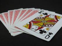 Few karty do gry Królowa kluby stawia czoło w górę fotografia stock