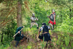 Few knights  is fighting Royalty Free Stock Photo