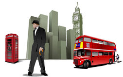 Few London images on city background Royalty Free Stock Photography