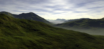 A few long rolling green valleys Stock Images