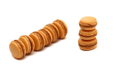 A few macaroons are  on white. Macaroons are the most popular French dessert Stock Image