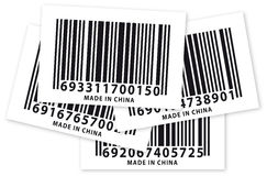 Few made in china barcode stickers. Four barcode of china's product Royalty Free Stock Photos