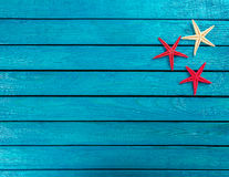 Few marine items on a wooden background Royalty Free Stock Photo
