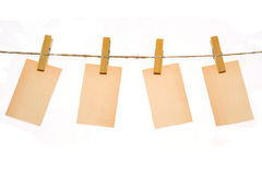 Few message hang on clothes-pin Stock Photography