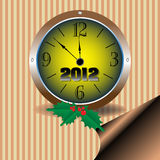 A few minutes before New Year. Abstract colorful background with mistletoe and a clock showing a few minutes before the New Year. New Year design Stock Photography