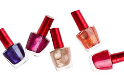 Few nail polish bottles Royalty Free Stock Images