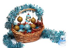 Christmas decorations on a white background stock photography