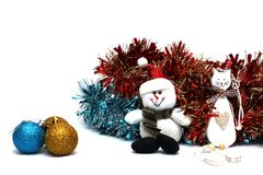 Christmas decorations on a white background stock image