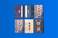 A few old cassette tapes royalty free stock image