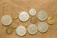A few old coins of the Soviet Union on the old fabric Royalty Free Stock Photo