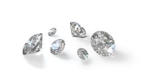 Few old european cut round diamonds. On white background Stock Images