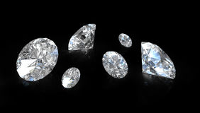 Few old european round cut diamonds Royalty Free Stock Image