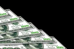 A few one hundred USA dollars background. A few one hundred USA dollarson black  background Royalty Free Stock Photo