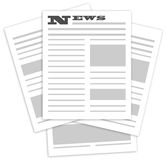 Few pages of news in newspaper. Newspaper on a white background Royalty Free Stock Image