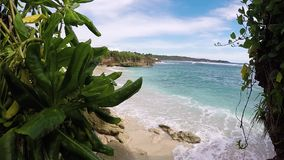 Few palm trees over tropical lagoon with white beach. Paradise island Nusa Lembongan, Bali, Indonesia. Blue water and. Few palm trees over tropical lagoon with stock video