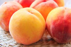 A few peaches. On a table close-up Stock Photo