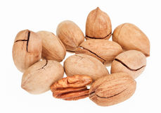 Few pecan nuts, one cracked Stock Photo