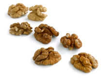 Few peeled walnuts Stock Photography