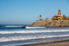 Few people enjoying the early day in Todos Santos beach in Baja California, Mexico Stock Image