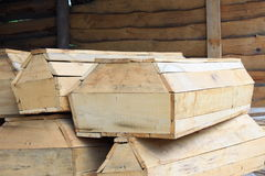 A few pieces of wooden coffins Royalty Free Stock Photography