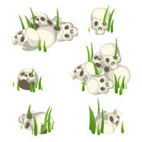 Few piles of human skulls in the grass Royalty Free Stock Image
