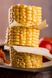 Few portions of sweet corn on a stack Royalty Free Stock Photos