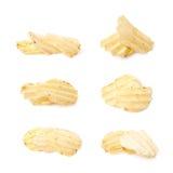 Few potato chips isolated Stock Photo