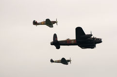 The few reach for the skys. The battle of britain memorial flight fly past bournemouth air festival 2012 royalty free stock image