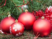 Few red Christmas baubles on Xmas tree background Stock Photography
